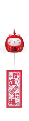 Pottery Maneki Neko Beckoning Lucky Cat 9560 Wind Bell Furin Dharma Red 50mm
