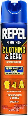 2 Pack REPEL Permethrin Clothing and Gear Insect Repellent Aerosol 6.5 Oz Each