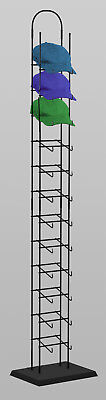 Floor Tower Sport Cap And Hat Display Rack - 12 Tier Black