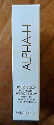 NIB Alpha-H Liquid Gold Midnight Reboot Serum 14% Glycolic Acid Travel Size 7 ml