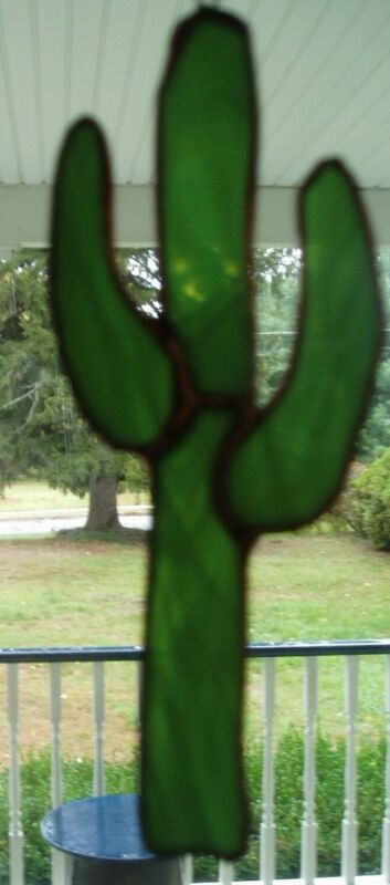 """Stained Glass Cactus -7.5"""" tall"""
