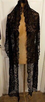 Victorian black lace long scarf panel Antique Museum 1890s 1880s 1900s
