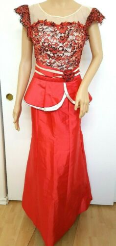 Cambodia Khmer Traditional Maxi Dress Women Size M Red Lace  Weeding Formal