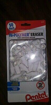 Pentel Hi-polymer Pencil Eraser Cap Non-abrasive Latex-free 50 Pk White