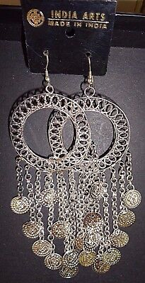 Group of 4 New India Arts Silvery Coin Dangle Earrings for Costumes or Reg. Wear](Group Costume For 4)