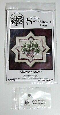 Sweetheart Tree SILVER LEAVES Counted Cross Stitch Chart w Sterling Silver Charm