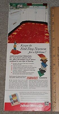 1952 Johns-Manville Terraflex Vinyl Plastic Asbestos Floor Tile COLOR Ad