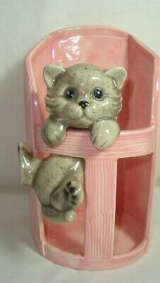 Adorable Pink Ceramic Plant Holder With Hanging Gray Kitten - So Cute!!
