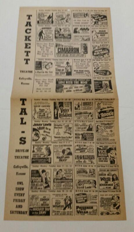 DRIVE-IN MOVIE 1950s Original Theatre Flyer 2 pg. Sci-Fi Horror PSYCHO & GORGO