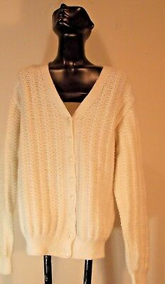 NEW  Hand Knit Lt Beige Acrylic Cable Design Bohemian SWEATER Cardigan One - New Hand Knit Cable