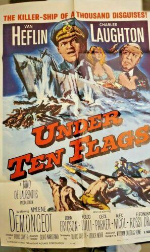 1960 UNDER TEN FLAGS ORIGINAL 1960 WW2 movie poster MYLENE DEMONGEOT