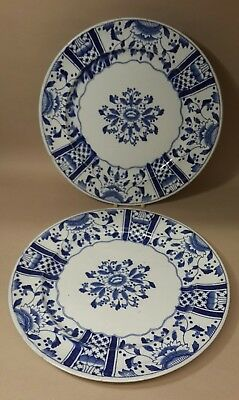 Pair Antique Blue & White Transfer Print Plates Mysore Registered c.1880-1910
