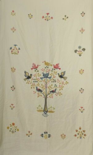 Vintage Bedspread Embroidered Tree of Life Birds Linen Cottagecore Bohemian Chic