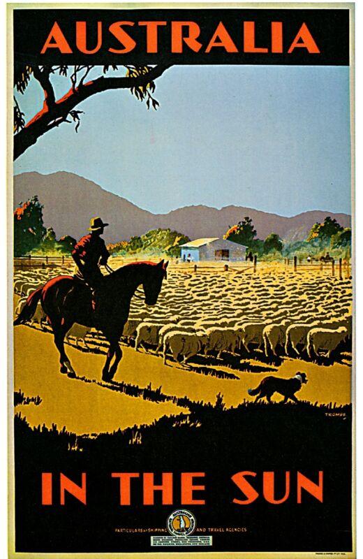1935 Australia in the Sun Australian Travel Advertisement Vintage Poster Print