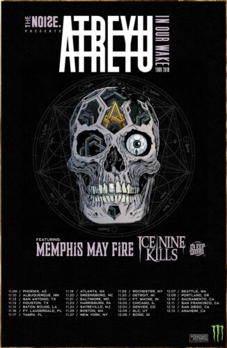ATREYU In Our Wake 2018 Ltd Ed RARE Tour Poster +FREE Rock Poster!