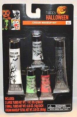 Halloween Cream Makeup Kit 5 piece 3.05 oz Tubes Make-Up Costume Party NEW
