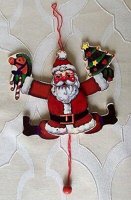 Vintage Wooden Pull String Jumping Jack SANTA Ornament