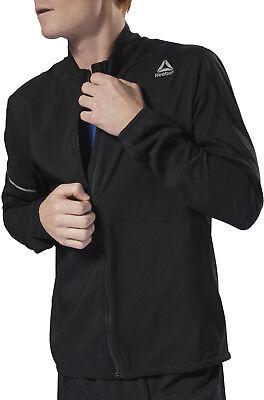 Reebok Lightweight Woven Mens Running Jacket - Black Running Woven Jacket