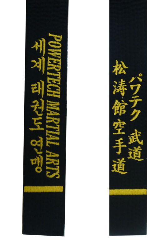 Custom Embroidered Black Belt Martial Arts, Karate Taekwondo