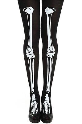 Damen Halloween Skelett Knochen Strumpfhosen Schwarz Kostüm Verkleidung Zubehör ()