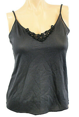 115613 Bali Camisole Black Medallion Lace Adjustable Straps Cami Nylon Spandex