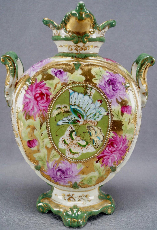Nippon Hand Painted Pink Purple Chrysanthemums Blue Butterflies Green Gold Vase