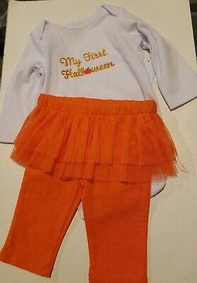 Infant Girls Little Wonders My First Halloween White & Orange 2 Piece Set 0-3 - My First Halloween