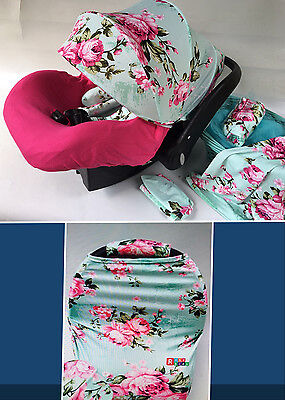 WHOLE CABOODLE CarSeat Canopy 9pc Set STRETCH Baby Car Seat Cover mint pink NEW