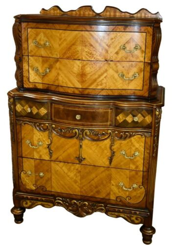 Antique Ornate Jacobean Style Carved Satinwood & Walnut Tall Chest