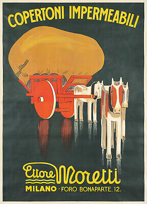 Original Vintage Poster Italian Metlicovitz Moretti Horses Farm 1933