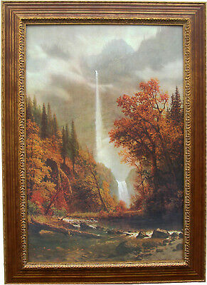 - Multnomah Falls Bierstadt  Custom Framed Canvas Transfer 31 x 43