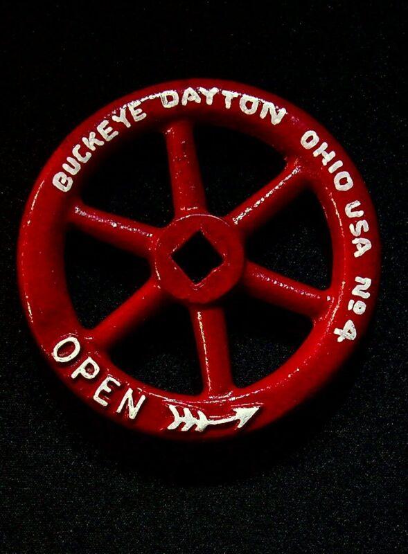 "Buckeye Dayton Ohio No. 4 Water Shutoff Valve Handle Steampunk 4"" Cast Iron"
