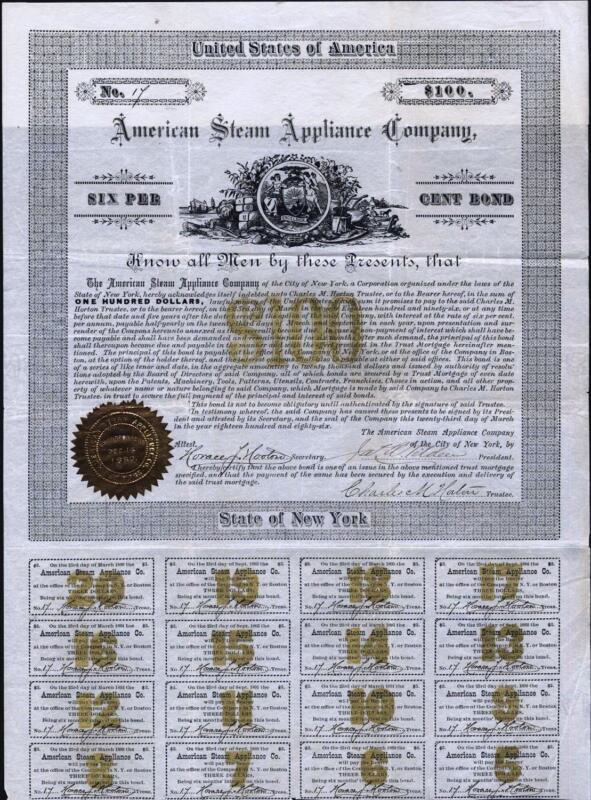 $100 AMERICAN STEAM APPLIANCE CO. BOND, 1886, UNCANCELLED BOND WITH 16 COUPONS