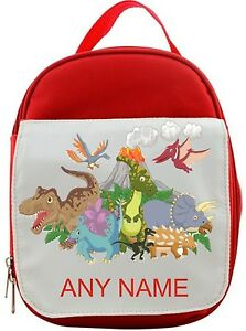 Personalised Dinosaur/Dinosaurs Packed Lunch/Sandwich Bag *Pink Blue Red*
