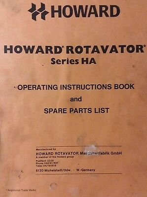 Howard Ha Rotavator Tiller 3-point Hitch Owner Parts Service Manual Tractor