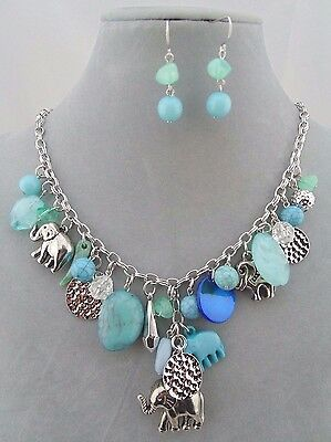 Elephant Necklace Set Blue Bead Silver Fashion Jewelry NEW