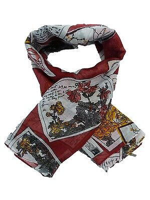 New Retro Vintage Postcard Print Newspaper Writing Scarf Womens Soft Shawl Gift