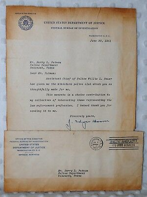 J. Edgar Hoover Signed Typed Letter w/ Original Envelope June 30, 1951