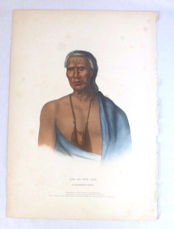 LAP-PA-WIN-SOE Original Lithograph 1837. Delaware Chief. McKenney & Hall Folio