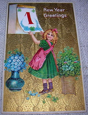 Vintage New Year's Day Postcard - Victorian Girl with Calendar & Flowers