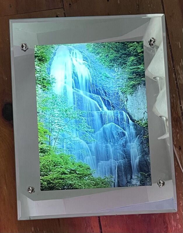 """Vintage Light Up Motion Mirror Picture Waterfall w/ Sound 17""""-3/4 X 13-3/4"""""""