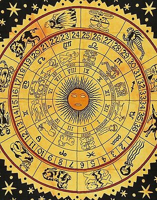 Indian Ethnic Dorm Decor Wall Hanging Zodiac Tapestry Bohemian Bedspread New