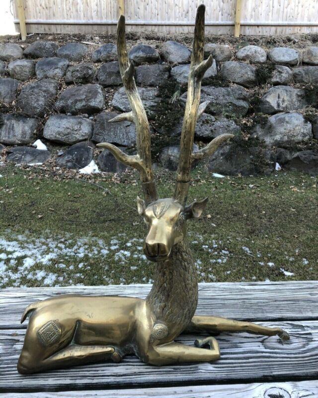 "Large 23"" Solid Brass Deer/ Holiday- Centerpiece-Mantlepiece"