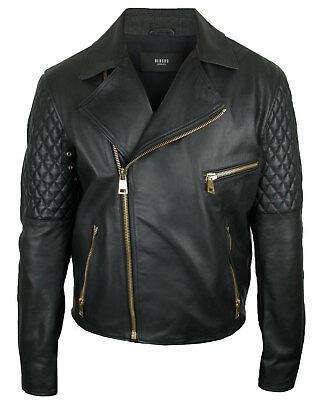 Versace Leder Jeans (VERSACE VERSUS Leder-/Jeans Jacke   schwarz SIZE 52 gesteppt Lederjacke)