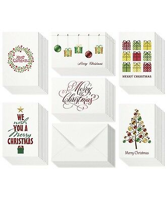 48 Christmas Cards Bulk Assortment Set – 6 Unique Merry Christmas Designs with