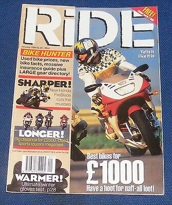 RIDE MAGAZINE JANUARY 1996 - BEST BIKES FOR A