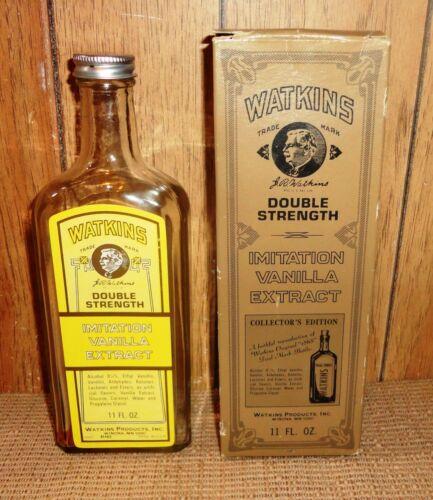 Vintage WATKINS DOUBLE STRENGTH IMITATION VANILLA  BOTTLE WITH ORIGINAL BOX