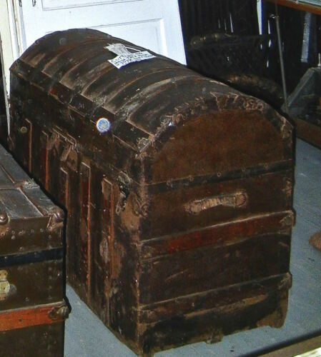 Antique  Camelback Travel Trunk  Dome shape