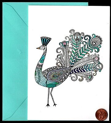 PAPYRUS Ornate Peacock Bird Feathers Turquoise - Blank Note Greeting Card - NEW