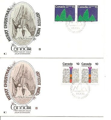 Canada SC # 678-679 Christmas 1975 FDC. pairs .Kingswood Cachet